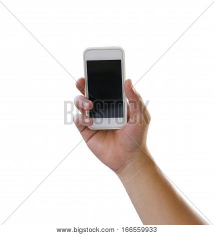 Hand of man holding a smartphone isolated on white background and have clipping paths to easy deployment.