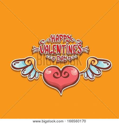 vector valentines day cartoon tattoo style heart label with angel wings and cartoon calligraphic text happy valentines day.