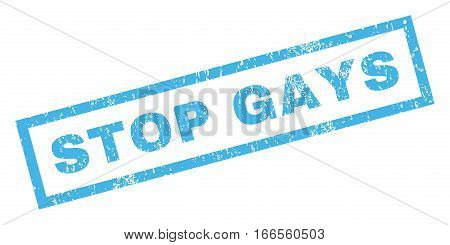 Stop Gays text rubber seal stamp watermark. Tag inside rectangular banner with grunge design and unclean texture. Inclined vector blue ink sticker on a white background.