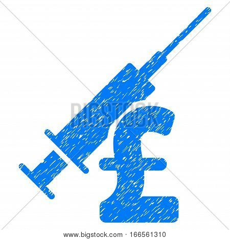 Narcotic Pound Business grainy textured icon for overlay watermark stamps. Flat symbol with unclean texture. Dotted vector blue ink rubber seal stamp with grunge design on a white background.