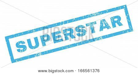 Superstar text rubber seal stamp watermark. Caption inside rectangular shape with grunge design and dirty texture. Inclined vector blue ink sign on a white background.