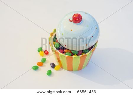 Ice cream shaped candy bowl with jelly beans inside