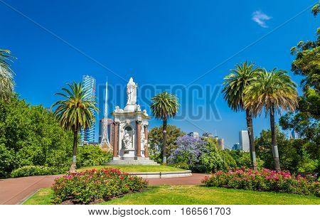 Queen Victoria statue at the Queen Victoria Gardens in Melbourne, Australia