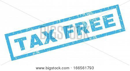 Tax Free text rubber seal stamp watermark. Caption inside rectangular banner with grunge design and dust texture. Inclined vector blue ink emblem on a white background.