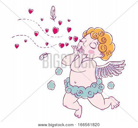 Valentine's day. Cupid-boy cloud pants knelt and blowing kisses and hearts. Vector illustration isolated on white background. Card. T-shirt print.