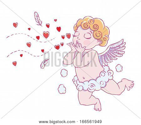 Valentine's day. Cupid-boy in cloud pants and blowing kisses and hearts. Vector illustration isolated on white background. Card. T-shirt print.