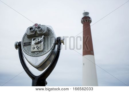 Tower Viewer Pointed at Barnegat Light Lighthouse New Jersey