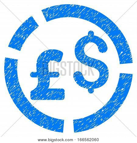 Pound And Dollar Currency Diagram grainy textured icon for overlay watermark stamps. Flat symbol with unclean texture.