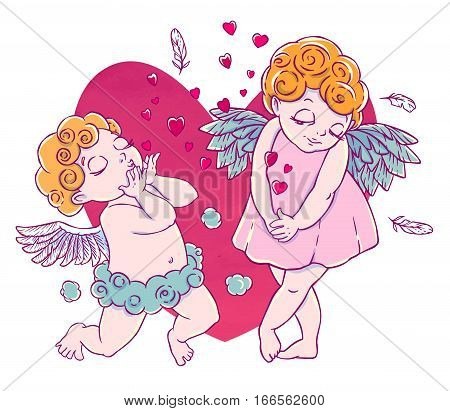 Valentine's day. Cupid-boy cloud pants knelt and blowing kisses and hearts. A pair of angels. Vector illustration isolated on white background. Card. T-shirt print.