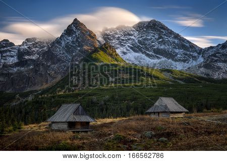 Two old huts at Gasienicowa Valley in Tatra mountains Poland