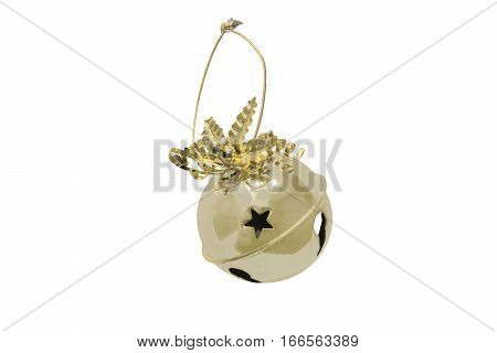 Round sleigh bell with golden holly and ribbon hanging on a rope isolated on white