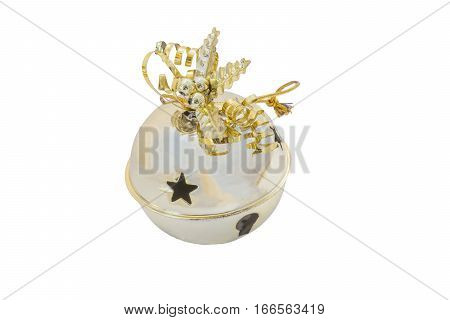 Golden sleigh bell with decorative shiny ribbon and holly isolated on white