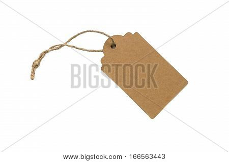 Blank paper gift tag with twine attached isolated on white
