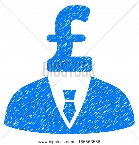Pound Businessman grainy textured icon for overlay watermark stamps. Flat symbol with scratched texture. Dotted vector blue ink rubber seal stamp with grunge design on a white background.