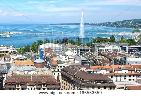 Aerial view of Geneva and the Jet D'Eau