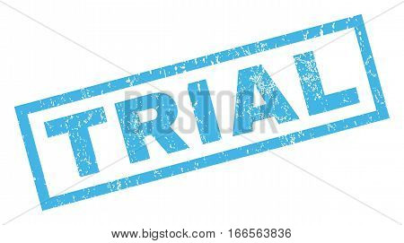 Trial text rubber seal stamp watermark. Tag inside rectangular shape with grunge design and scratched texture. Inclined vector blue ink sign on a white background.