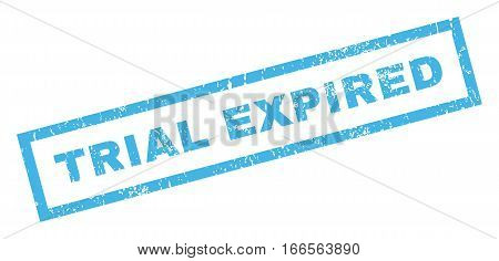 Trial Expiblue text rubber seal stamp watermark. Caption inside rectangular banner with grunge design and scratched texture. Inclined vector blue ink emblem on a white background.