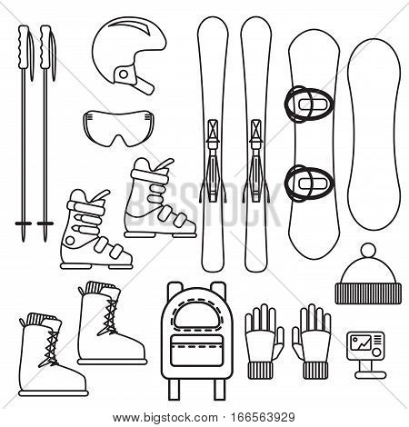 Ski and snowboard gear vector line icon set. Thin outline winter sport equipment - helmet, skis, goggles and boots