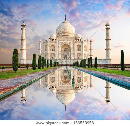 Taj Mahal in sunset light Agra India