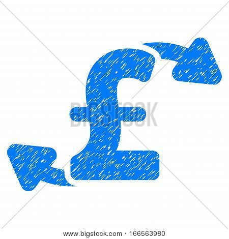 Pound Cash Outs grainy textured icon for overlay watermark stamps. Flat symbol with dirty texture. Dotted vector blue ink rubber seal stamp with grunge design on a white background.