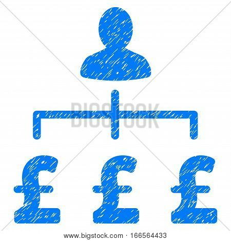 Pound Collector grainy textured icon for overlay watermark stamps. Flat symbol with unclean texture. Dotted vector blue ink rubber seal stamp with grunge design on a white background.