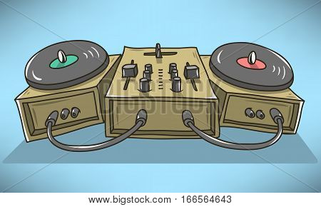 Sound Mixer And Turntables Cartoon Illustration.  Vector Graphic.