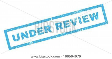Under Review text rubber seal stamp watermark. Tag inside rectangular shape with grunge design and dust texture. Inclined vector blue ink emblem on a white background.