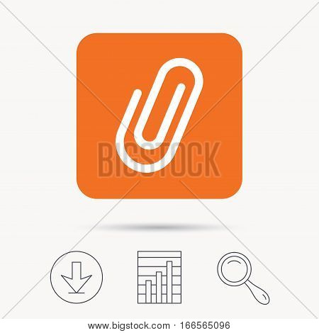 Attachment icon. Paper clip symbol. Report chart, download and magnifier search signs. Orange square button with web icon. Vector
