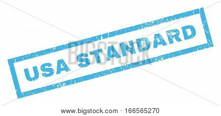 USA Standard text rubber seal stamp watermark. Caption inside rectangular shape with grunge design and dirty texture. Inclined vector blue ink sticker on a white background.