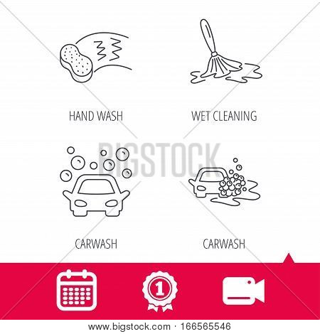 Achievement and video cam signs. Car wash icons. Automatic cleaning station linear signs. Hand wash, sponge flat line icons. Calendar icon. Vector poster