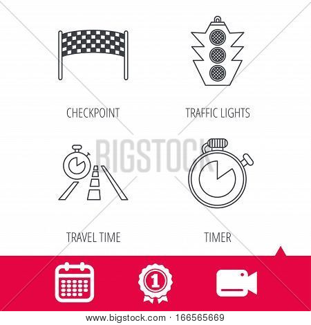 Achievement and video cam signs. Checkpoint, traffic lights and timer icons. Travel time, road linear signs. Calendar icon. Vector