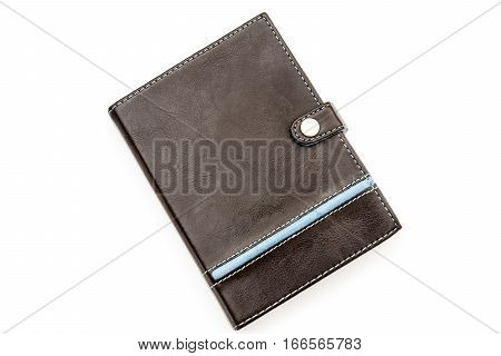 Retro styled brown leather notebook with blue stiching and stripe