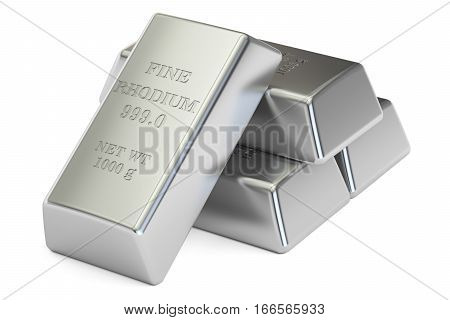 rhodium ingots closeup 3D rendering isolated on white background