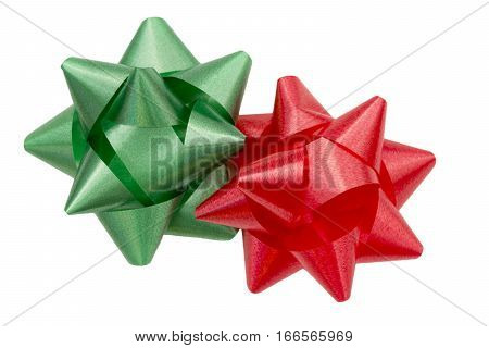 Red and Green holiday gift bows isolated on white background
