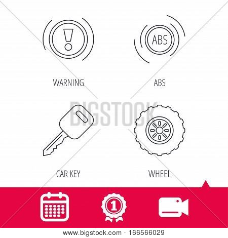 Achievement and video cam signs. Car key, abs and wheel icons. Warning ABS, attention linear signs. Calendar icon. Vector