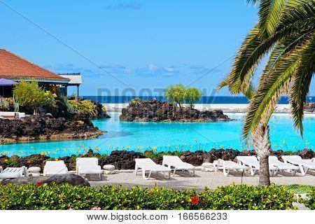 Beautifully designed saltwater pools Lago Martianez in Puerto de la Cruz Tenerife Canary Islands.