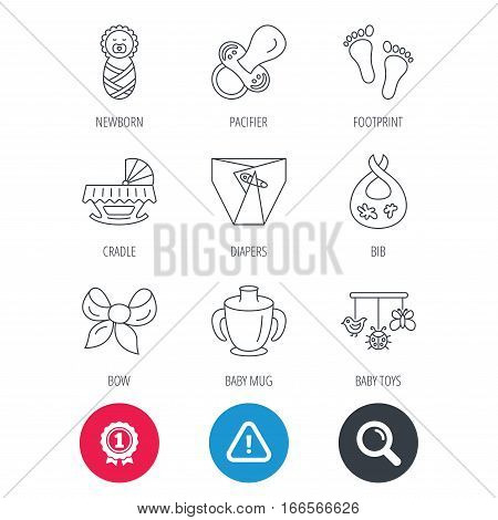 Achievement and search magnifier signs. Pacifier, newborn and baby toys icons. Footprint, diapers and cradle bed linear signs. Mug, dirty bib flat line icons. Hazard attention icon. Vector