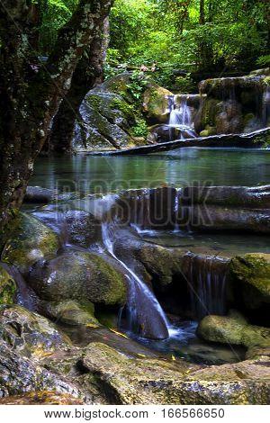 Erawan Waterfall with natural and freshness in Kanchanaburi Thailand