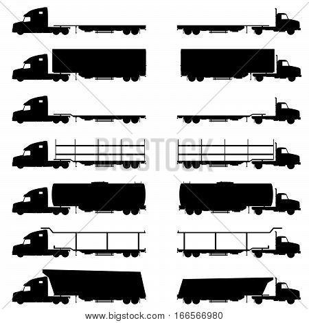 Trucks Vehicle Set In Black Color Illustration