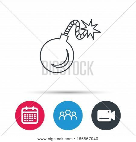 Retro bomb icon. Boom explode sign. Group of people, video cam and calendar icons. Vector