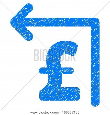 Pound Moneyback grainy textured icon for overlay watermark stamps. Flat symbol with scratched texture. Dotted vector blue ink rubber seal stamp with grunge design on a white background.