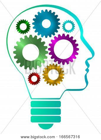 A human head profile shaped bulb with inside iron gears. Inside the head some colorful gears. White background.