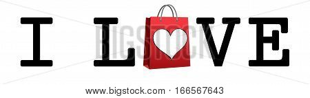 I Love Shopping. Shopping bag and heart. Written I love shopping, with shopping bag and a heart. High resolution.