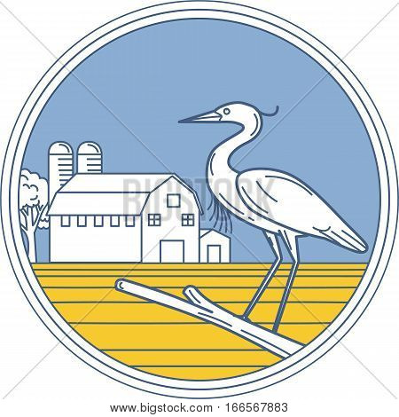 Illustration of a great blue heron perched on a branch viewed from the side set inside circle with barn farm silo in the background done in retro style.