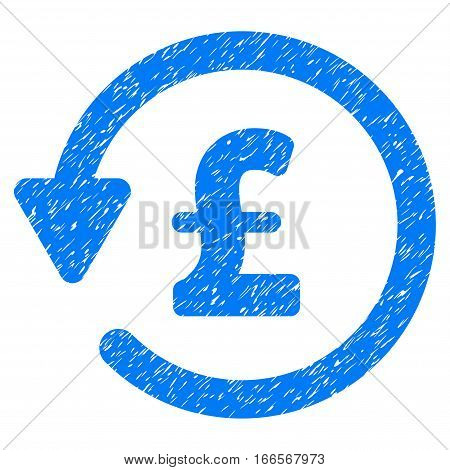Pound Rebate grainy textured icon for overlay watermark stamps. Flat symbol with dust texture. Dotted vector blue ink rubber seal stamp with grunge design on a white background.