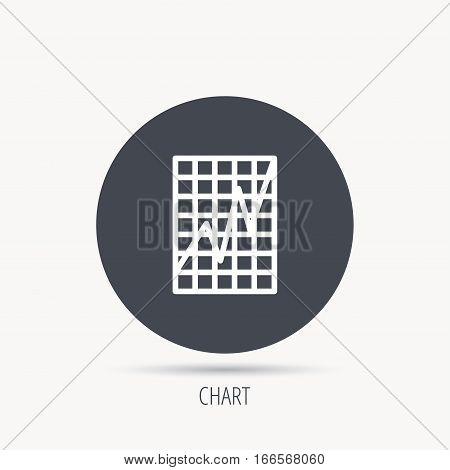 Chart curve icon. Graph diagram sign. Demand growth symbol. Round web button with flat icon. Vector