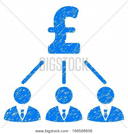 Pound Shareholders grainy textured icon for overlay watermark stamps. Flat symbol with dust texture. Dotted vector blue ink rubber seal stamp with grunge design on a white background.