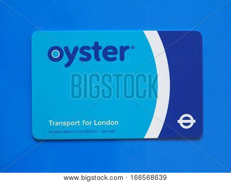London Oyster Card Over Blue