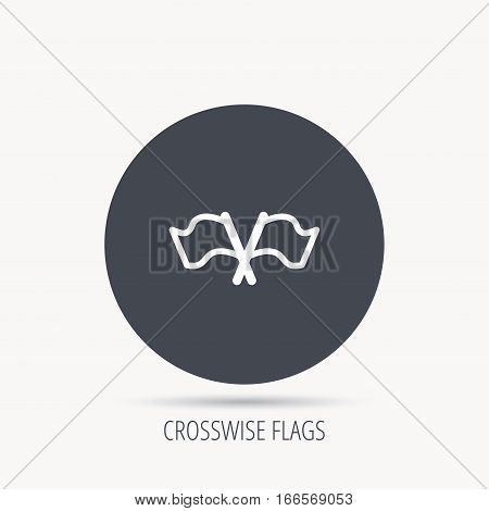 Crosswise waving flag icon. Location pointer sign. Round web button with flat icon. Vector