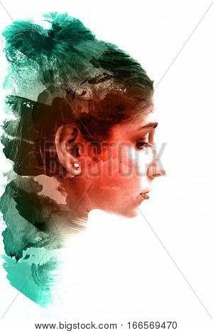 Double exposure of a young beautiful girl. Painted portrait of a female face. Picture isolated on white background. Abstract female look.  Watercolor illustration.